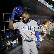 NEW YORK, NEW YORK - June 30: Jason Heyward #22 of the Chicago Cubs in the dugout preparing to bat during the Chicago Cubs Vs New York Mets regular season MLB game at Citi Field on June 30, 2016 in New York City. (Photo by Tim Clayton/Corbis via Getty Images)