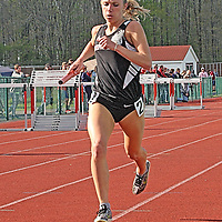 Maple Grove's Hope Pirtrcarlo in the anchor leg of the 4x800 relay  at the Joseph Paterniti Memorial Track and Field Classic at Strider Field 5-13-16 photo by Mark L. Anderson