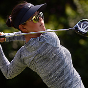 May 6, 2017; Mexico City, MEX; Michelle Wie plays a shot from the 11th tee during the Lorena Ochoa Match Play tournament Quarterfinals at Club de Golf Mexico. SPECIAL ASSIGNMENT FOR GolfWeek - Assigning Editor Beth Nichols at Club de Golf Mexico . Mandatory Credit: Orlando Ramirez-USA TODAY Sports
