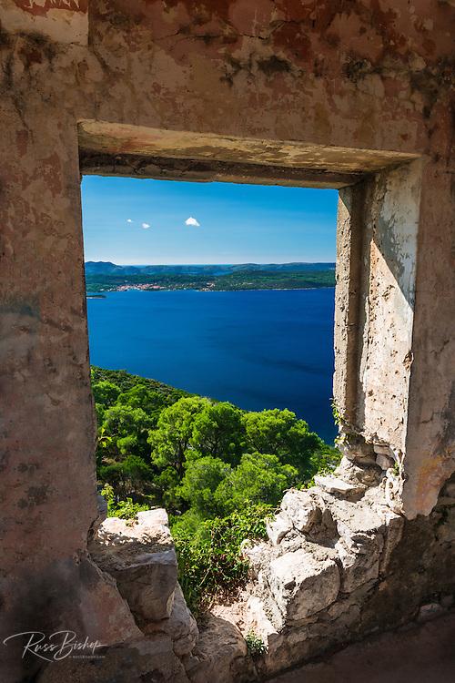 Window view at St. Michael's Fort (13th Century Venetian ruins) Ugljan Island, Dalmatian Coast, Croatia