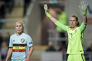 Goal-scorer Janice Cayman (Belgium) and Karen Bardsley (GK) (England) during the Euro 2017 qualifier between England Ladies and Belgium Ladies at the New York Stadium, Rotherham, England on 8 April 2016. Photo by Mark P Doherty.