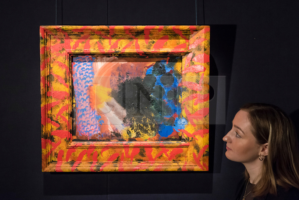 © Licensed to London News Pictures. 01/03/2019. LONDON, UK. A staff member views ''Counting The Days'', 1979-82, by Howard Hodgkin, (Est. £300,000 - 500,000).  Preview of Sotheby's Contemporary Art Sale in their New Bond Street galleries.  Works by artists including Tracey Emin, Jenny Saville, Jean-Michel Basquiat and Andy Warhol will be offered for auction on 5 March 2019.  Photo credit: Stephen Chung/LNP