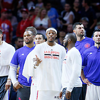 02 October 2015: Los Angeles Clippers forward Paul Pierce (34) talks to Los Angeles Clippers guard Chris Paul (3) during the Los Angeles Clippers 103-96 victory over the Denver Nuggets, in a preseason game, at the Staples Center, Los Angeles, California, USA.