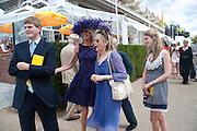 HUBIE SANGSTER; MRS. GUY SANGSTER; MRS. JAMES ALUN-JONES; ELLAMAY SANGSTER;, Glorious Goodwood. Sussex. 28 July 2010, -DO NOT ARCHIVE-© Copyright Photograph by Dafydd Jones. 248 Clapham Rd. London SW9 0PZ. Tel 0207 820 0771. www.dafjones.com.