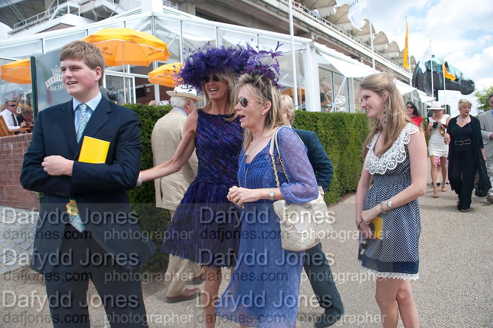 HUBIE SANGSTER; MRS. GUY SANGSTER; MRS. JAMES ALUN-JONES; ELLAMAY SANGSTER;, Glorious Goodwood. Sussex. 28 July 2010, -DO NOT ARCHIVE-© Copyright Photograph by Dafydd Jones. 248 Clapham Rd. London SW9 0PZ. Tel 0207 820 0771. www.dafjones.com.