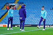 Leeds United midfielder Kalvin Phillips (23), Leeds United defender Ben White (5) and Leeds United forward Patrick Bamford (9) arrives at the ground during the EFL Sky Bet Championship match between Leeds United and Cardiff City at Elland Road, Leeds, England on 14 December 2019.