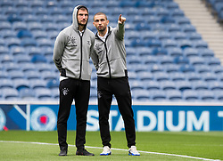 Rangers' Eros Grezda (right) and Borna Barisic prior to the Ladbrokes Scottish Premiership match at Ibrox, Glasgow.