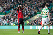 14th October 2017, Celtic Park, Glasgow, Scotland; Scottish Premiership football, Celtic versus Dundee; Dundee's Roarie Deacon missed a great chance to equalise late in the match