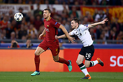May 2, 2018 - Rome, Lazio, Italy - AS Roma v FC Liverpool - Champions League semi-final second leg.Edin Dzeko of Roma and Andy Robertson of Liverpool at Olimpico Stadium in Rome, Italy on May 02, 2018. (Credit Image: © Matteo Ciambelli/NurPhoto via ZUMA Press)