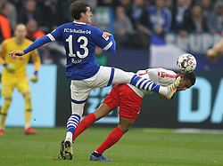 March 16, 2019 - Gelsenkirchen, Germany - Tyler Adams of Leipzig, right, and Sebastian Rudy of Schalke 04 are seen in action during the German Bundesliga soccer match between FC Schalke 04 and RB Leipzig in Gelsenkirchen. (Credit Image: © Osama Faisal/SOPA Images via ZUMA Wire)
