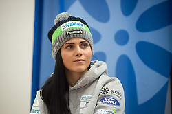 Gloria Kotnik during during press conference of Slovenian Snowboard Team after arrival from Snowboard World Championships in Utah, USA, on February 11, 2019 in Ljubljana, Slovenia. Photo by Anze Petkovsek / Sportida