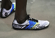 Feb 10, 2018; Boston, Massachussetts, USA; A detailed view of the Skechers spikes of Edward Cheserek (KEN) during the New Balance Indoor Grand Prix at Reggie Lewis Center.