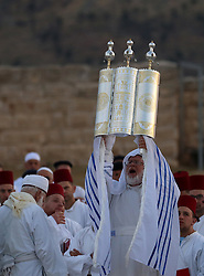 May 6, 2018 - West Bank - Members of the ancient Samaritan community take part in a traditional pilgrimage marking the holiday of Passover, on Mount Gerizim near the West Bank city of Nablus. (Credit Image: © Shadi Jarar'Ah/APA Images via ZUMA Wire)