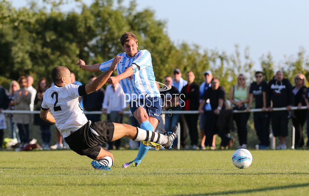 Titus Paterson shoots at goal during the FA Vase 1st Qualifying Round match between Worthing United and East Preston FC at the Robert Eaton Memorial Ground, Worthing, United Kingdom on 6 September 2015. Photo by Phil Duncan.