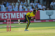 Fidel Edwards of Hampshire bowling during the Vitality T20 Blast South Group match between Middlesex County Cricket Club and Hampshire County Cricket Club at Lord's Cricket Ground, St John's Wood, United Kingdom on 26 July 2018. Picture by Dave Vokes.
