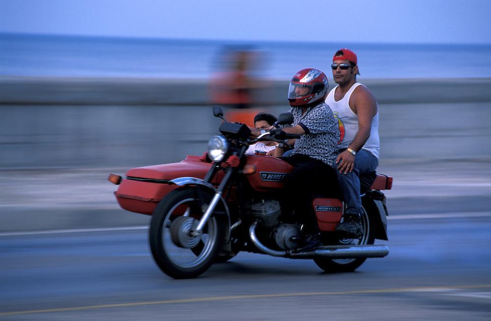 Motorcycle on Malecon, La Habana, Havana, Cuba, Caribbean