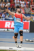 Bob Bertemes (LUX) places ninth in the shot put at 69-6¾ (21.20m) during the Meeting de Paris, Saturday, Aug. 24, 2019, in Paris. (Jiro Mochizuki/Image of Sport via AP)