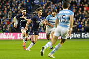 Adam Hastings on the ball during the Autumn Test match between Scotland and Argentina at Murrayfield, Edinburgh, Scotland on 24 November 2018.