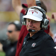 Gamecocks head coach Steve Spurrier reacts during an NCAA football game between the South Carolina Gamecocks and the Central Florida Knights at Bright House Networks Stadium on Saturday, September 28, 2013 in Orlando, Florida. (AP Photo/Alex Menendez)