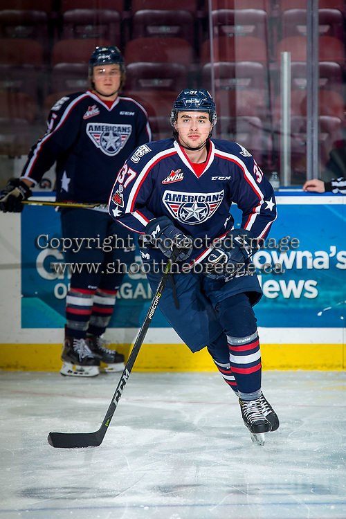 KELOWNA, CANADA - JANUARY 3: Dan Gatenby #37 of the Tri-City Americans warms up against the Tri-City Americans on January 3, 2017 at Prospera Place in Kelowna, British Columbia, Canada.  (Photo by Marissa Baecker/Shoot the Breeze)  *** Local Caption ***