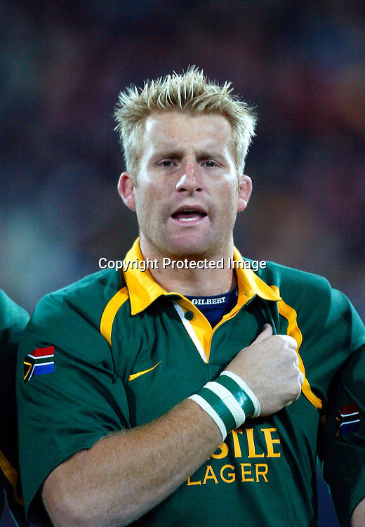 20th July, 2002. Tri-Nations Rugby Union. <br />WestpacTrust Stadium.<br />New Zealand v South Africa.<br />AJ Venter<br />Credit: Andrew Cornaga/Photosport