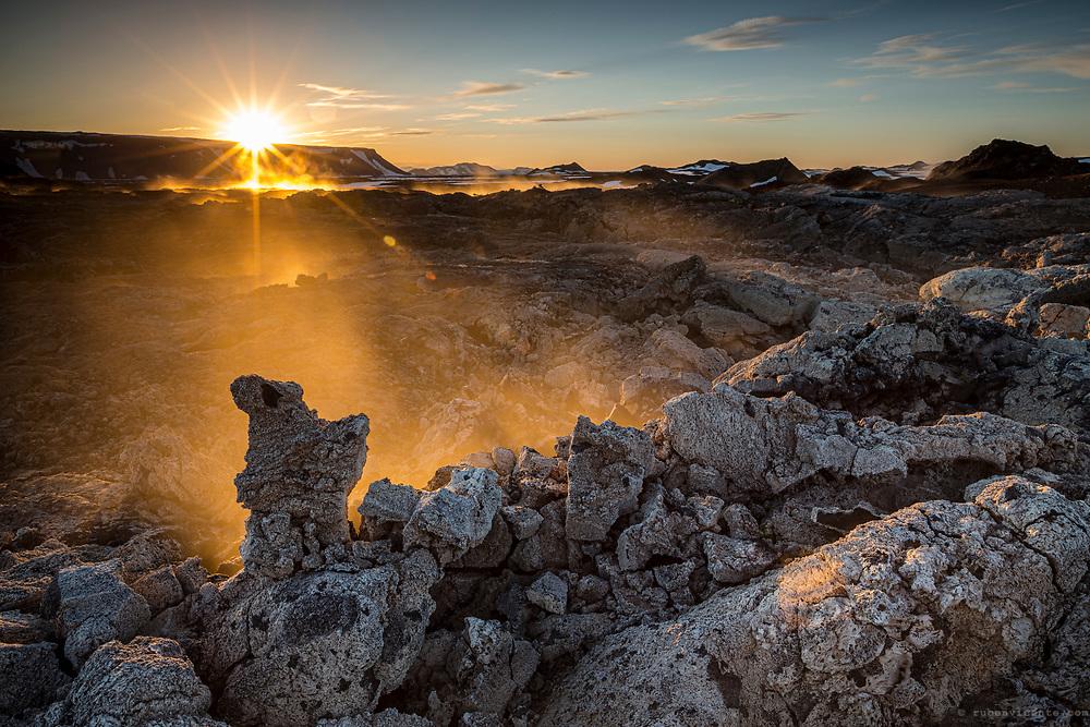 Krafla fumaroles at sunset. Iceland
