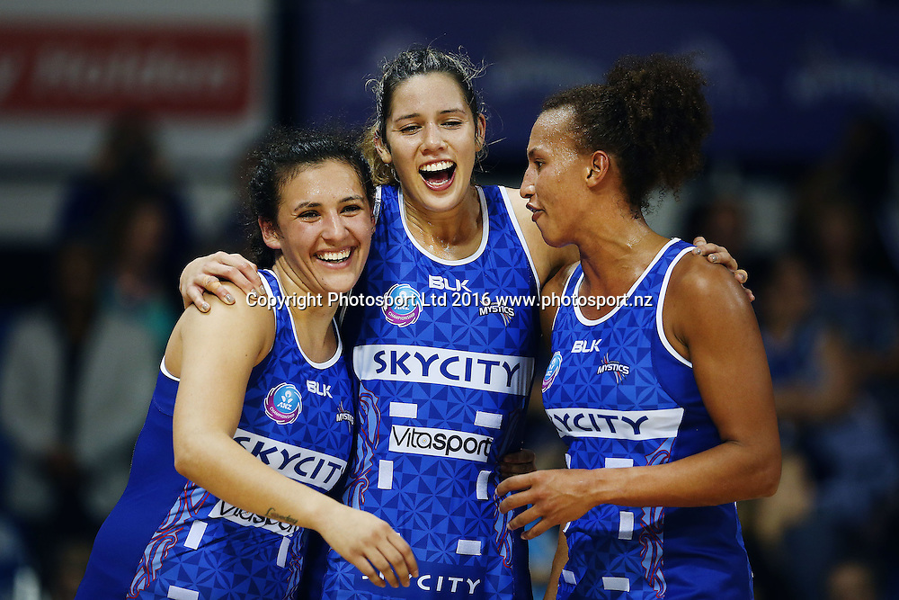 Kayla Cullen of the Mystics celebrates with teammates Nadia Loveday and Serena Guthrie after the win. 2016 ANZ Championship, Northern Mystics v Adelaide Thunderbirds, The Trusts Arena, Auckland, New Zealand. 2 May 2016. Photo: Anthony Au-Yeung / www.photosport.nz