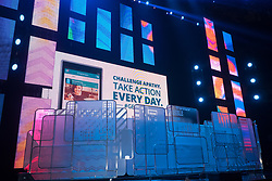 Stage of We Day 2015, Seattle, Washington. Free the Chldren event which inspires youth activism and volunteering.