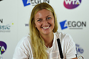 Petra Kvitova of the Czech Republic smiles at a question during the press conference at the Final of the Aegon Classic Birmingham at Edgbaston Priory Club, Edgbaston, United Kingdom on 25 June 2017. Photo by Martin Cole.