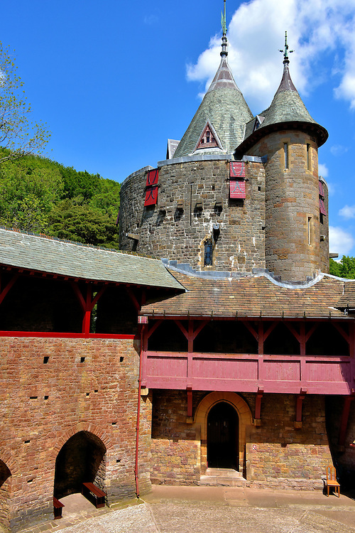 Courtyard of Castell Coch in Tongwynlais, Wales<br />