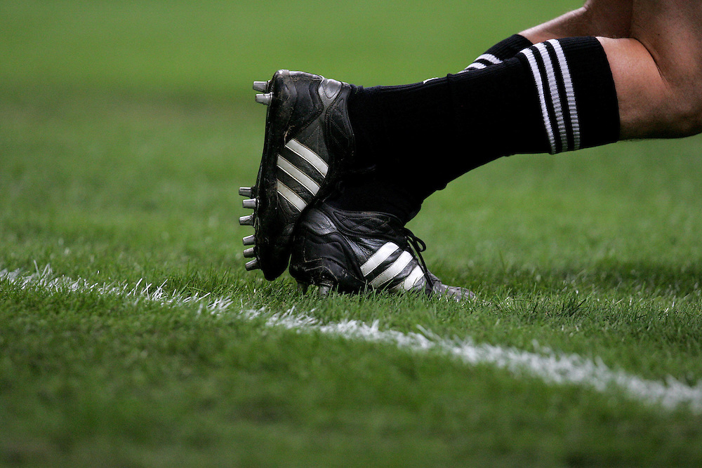 The Adidas boots of Dan Carter. France v New Zealand, Quarter Final 2, IRB Rugby World Cup 2007, Millenium Stadium, Cardiff, Wales, 6th October 2007.