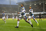 GOAL 1-1 QPR midfielder Massimo Luongo (21) scores and celebrates Queens Park Rangers' equaliser during the EFL Sky Bet Championship match between Queens Park Rangers and Brentford at the Loftus Road Stadium, London, England on 10 November 2018.