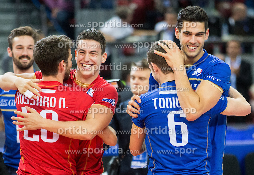 Nicolas Rossard #20 of France, Jenia Grebennikov #2 of France, Benjamin Toniutti #6 of France and Jonas Aguenier #1 of France celebrate after winning during volleyball match between National teams of France and Bulgaria in 2nd Semifinal of 2015 CEV Volleyball European Championship - Men, on October 17, 2015 in Arena Armeec, Sofia, Bulgaria. Photo by Vid Ponikvar / Sportida