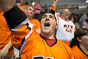 Jake Saxton '17 and the Corner Crew chant during an exhibition game at RIT's Gene Polisseni Center on Monday, September 29, 2014.