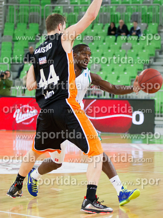 Cedric Jackson of Union Olimpija during basketball match between KK Union Olimpija Ljubljana and Ratiopharm Ulm (GER) in Round 9 of EuroCup 2013/14, on December 11, 2013 in Arena Stozice, Ljubljana, Slovenia. Photo by Vid Ponikvar / Sportida