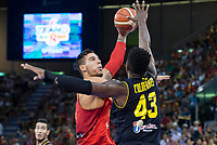 Spain's Willy Hernangomez and Venezuela's Nestor Colmenares during friendly match for the preparation for Eurobasket 2017 between Spain and Venezuela at Madrid Arena in Madrid, Spain August 15, 2017. (ALTERPHOTOS/Borja B.Hojas)