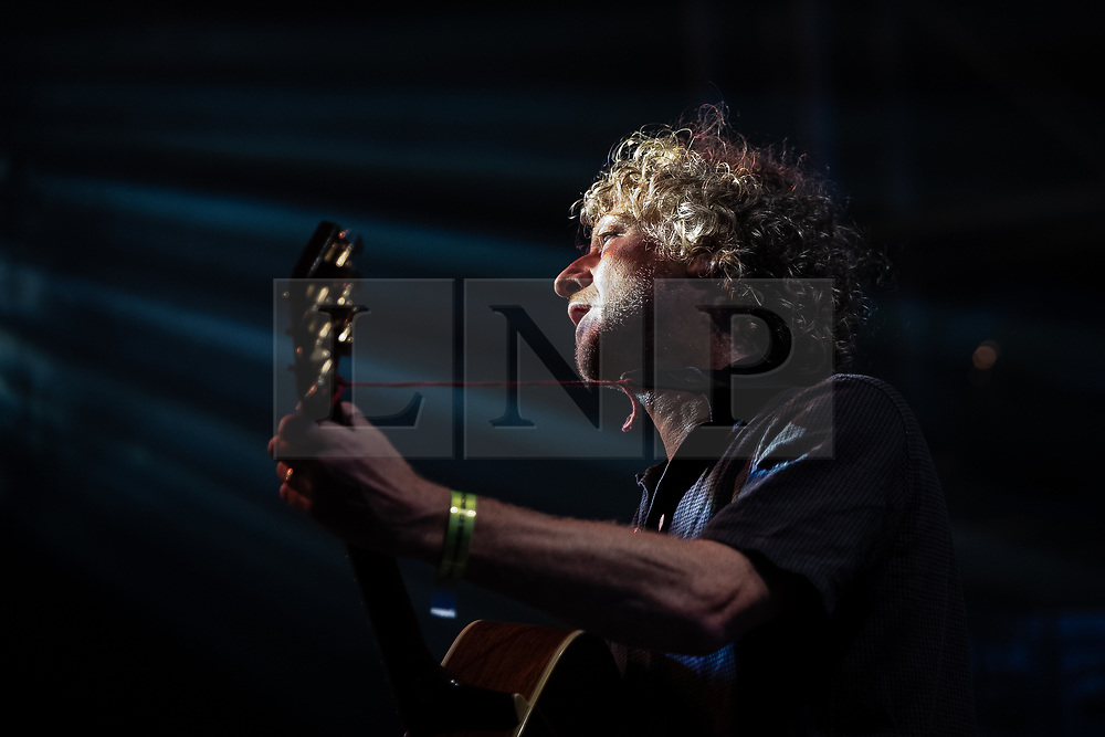 © Licensed to London News Pictures. 18/08/2018. Rochdale , UK. JOHN POWER . Liverpool band Cast perform live at the Rochdale Feel Good Festival , in front of Rochdale Town Hall . Photo credit: Joel Goodman/LNP
