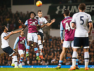 Carlos Sanchez of Aston Villa and Dele Alli of Tottenham Hotspur challenge for a header during the Barclays Premier League match at White Hart Lane, London<br /> Picture by Jack Megaw/Focus Images Ltd +44 7481 764811<br /> 02/11/2015