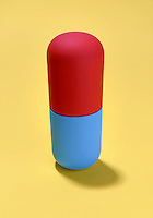 red and blue pill capsule