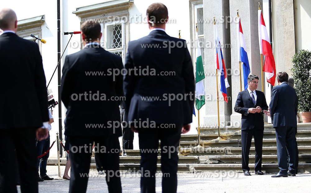 23.08.2013, Graz, AUT, &Ouml;sterreichischer Ministerpr&auml;sident Werner Faymann trifft Zoran Milanovic aus Kroatien und Alenka Bratusek aus Slowenien zu einem offizelen Arbeitsgespraech, im Bild Zoran Milanovic,Franz Voves and Werner Faymann, // Prime Ministers, Werner Faymann of Austria, Zoran Milanovic of Croatia and Alenka Bratusek of Slovenia met in Graz on Friday for talks on strengthening relations between their countries and on joint cooperation within the European Union. Graz, Austria on 2013/08/23. EXPA Pictures &copy; 2013, PhotoCredit: EXPA/ Pixsell/ Michal Glebov<br /> <br /> ***** ATTENTION - for AUT, SLO, SUI, ITA, FRA only *****