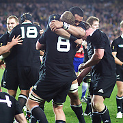 Kieran Read, (number eight) and Jerome Kaino, New Zealand, hug after the final whistle as New Zealand win the World Cup 8-7 over France  during the New Zealand V France Final at the IRB Rugby World Cup tournament, Eden Park, Auckland, New Zealand. 23rd October 2011. Photo Tim Clayton...