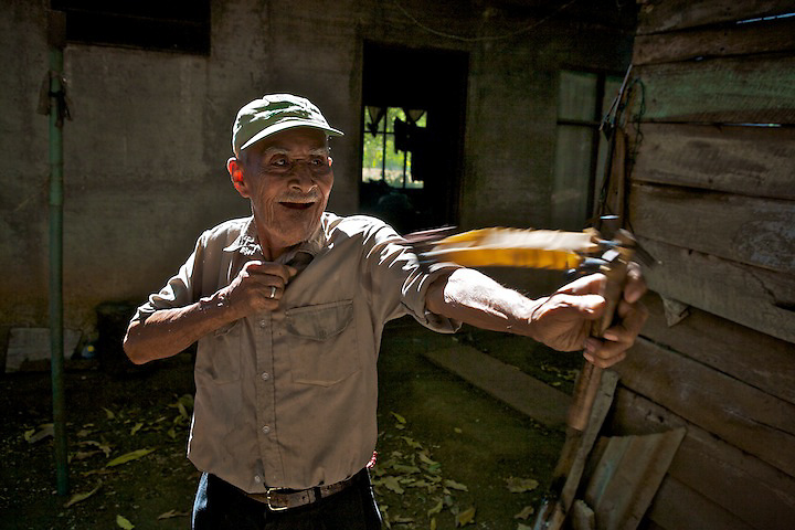 Felipe is 99 years old. .His first job was clearing forests for the first cattle hacienda in Nicoya. He quit that to start a job in the salt mines, where he hauled 80-pound bags for 12 hours a day. After that he fished professionally, before ending up a simple farmer.