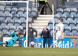 Falkirk's keeper Michael McGovern saves from Raith Rovers John Baird<br /> Raith Rovers 2 v 4 Falkirk, Scottish Championship game today at Starks Park.<br /> &copy; Michael Schofield.