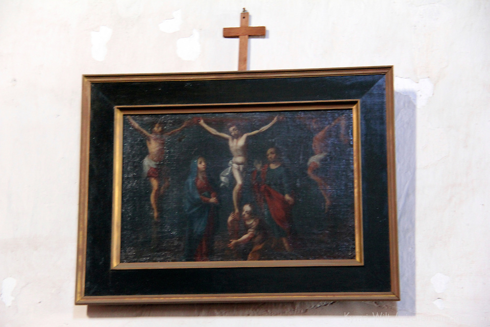 USA, California, Oceanside. Painting of Christ at Old Mission San Luis Rey de Francia.