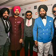 Binnu Dhillon, guest, Peter Singh Virdee and Gippy Grewal attend the BritAsiaTV Presents Kuflink Punjabi Film Awards 2019 at Grosvenor House, Park Lane, London,United Kingdom. 30 March 2019