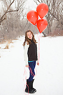 Valentine pictures of children, photos of children in the snow, child portrait in the snow with balloons, Boulder