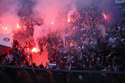 Celebrating of fans at ceremony after last football match of PrvaLiga Telekom Slovenije between NK Maribor and NK Interblock, when Maribor became a Slovenian National Champion, on May 23, 2009, in Ljudski vrt, Maribor. (Photo by Marjan Kelner/Sportida)