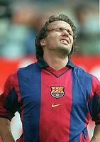 Boudewijn Zenden- Barcelona. Barcelona v Lazio. The Amsterdam Tournament. Amsterdam Arena, 5/8/2000. Credit: Colorsport / Stuart MacFarlane.