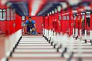 Devon ALLEN of the United States prepares for the start of the 110m Hurdles during the Athletics World Cup at the London Stadium, London, England on 14 July 2018. Picture by Toyin Oshodi.