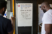 Following the attack on a group of Muslim men outside the Finsbury Park mosque which killed one person and seriously injured another ten, a white board at the London Underground station features a defiant quote to passers-by and commuters, on 19th June 2017, in the borough of Islington, north London, England.